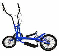 Blue 8 Speed Aluminum Street Elliptical Bike Trainer Stable 3-wheel