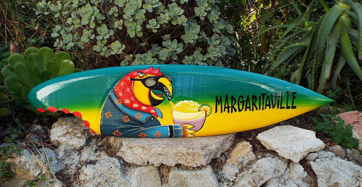 Tropical Wooden Surfboard Margaritaville Parrot Wall Plaque Tiki Bar 39