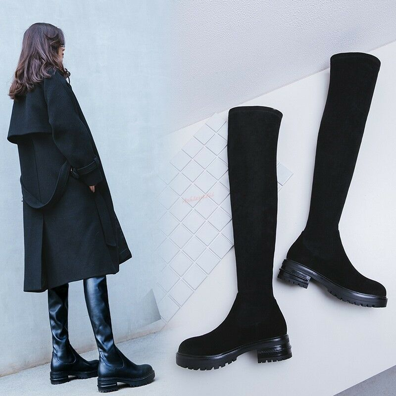 Women Over Knee High Boots Stretchy Sexy Leather Pull On Platfrom Long Shoes