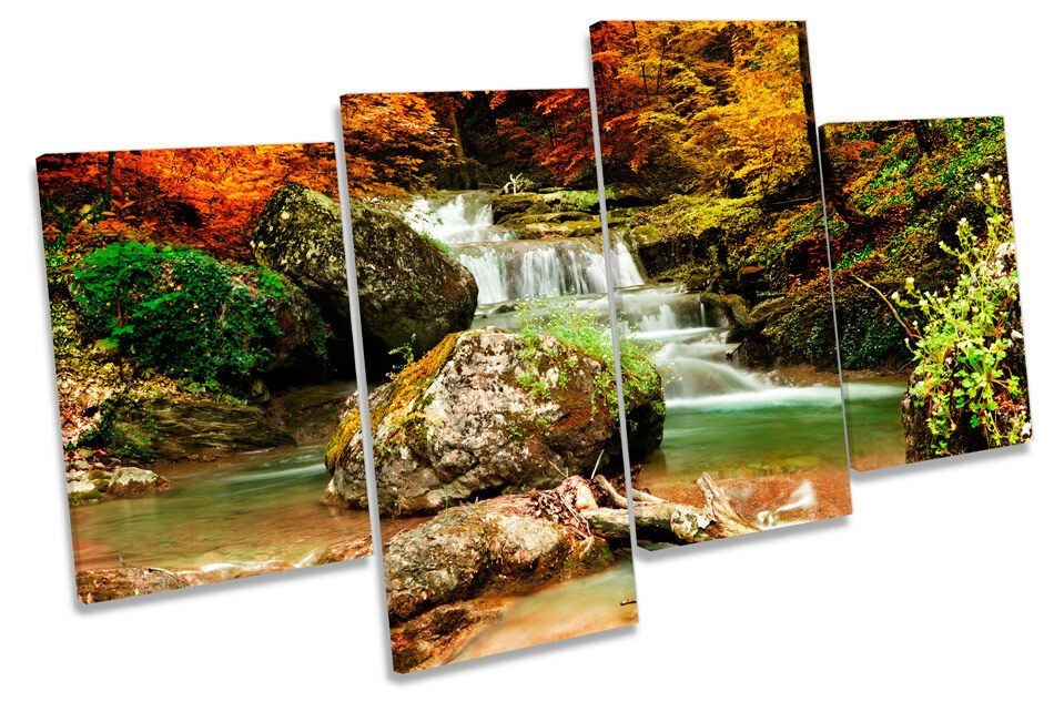 Autumn Forest Landscape River Waterfall MULTI CANVAS WALL ART Framed Print