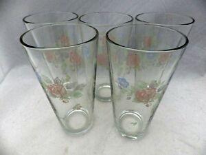 Pfaltzgraff-Tea-Rose-pattern-set-lot-of-5-Beer-glasses-very-Large-tumblers-EUC