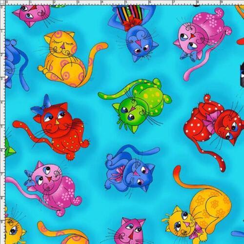 Cuarto gordo Cool Toss Coser Algodón Tela de acolchar Gatos Gatos caprichosa Azul