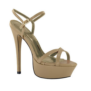 "Johnathan Kayne Nacona Taupe Nude Patent 4"" High Heel Pump Pageant Prom Shoe"