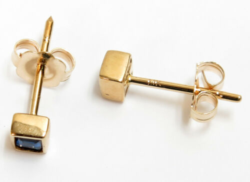 14K Solid Yellow or White Gold Tiny Sapphire Square Stud Earrings