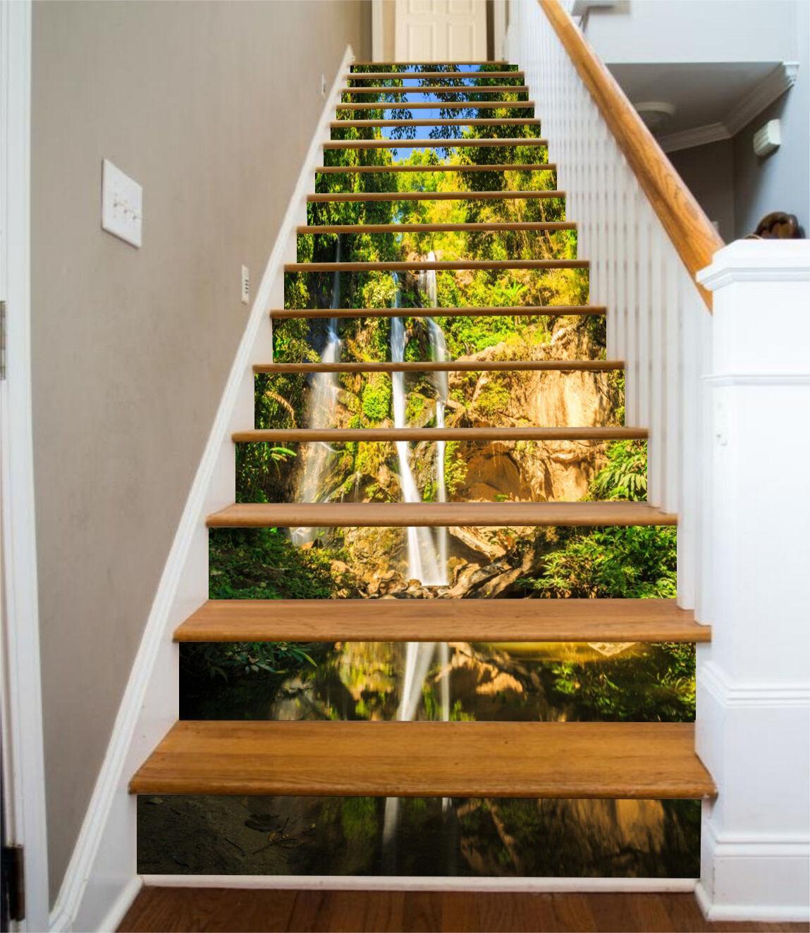 3D Wasserfall See 59Stair Risers Dekoration Fototapete Vinyl Aufkleber Tapete DE