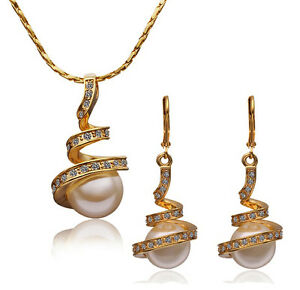 Lovely-18k-Gold-Plated-GP-Pearl-necklace-earrings-sets-S-A347