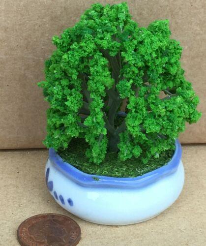 Bush escala 1:12 con ramas flexibles en un pote de cerámica tumdee Casa De Muñecas JT3