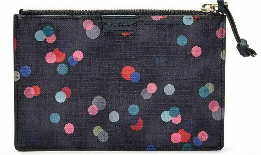 Fossil Small Pouch Leather Multicolor Polka Dots NWT Navy