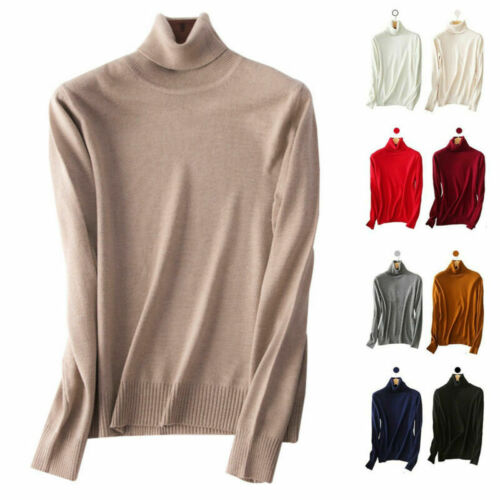 Women/'s Slim Knitted Turtleneck Cashmere Jumper Pullover Elasticity cozy Sweater