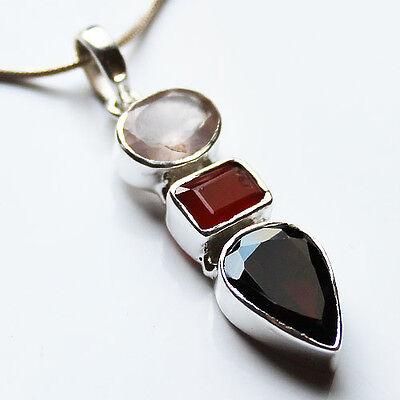 925 Sterling Silver Semi-Precious Stone Pendant - Rose Quartz,Garnet & Carnelian