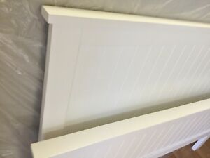 WHITE-SOLID-WOODEN-QUEEN-BED-with-SLATES-amp-IKEA-MATTRESS