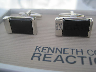 Kenneth Cole Reaction Cufflinks, Rectangular, Silver-Tone and Onyx, $40 Retail