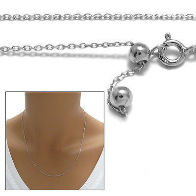 925 Sterling Silver Rhodium Adjustable Rolo Chain Necklace 1mm