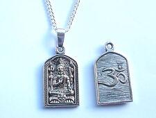 Kwan Yin Quan Yin Buddhist OM Aum Symbol Silver Tone Pendant Necklace