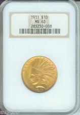 1911 $10 Indian Eagle Ngc Ms63 Ms-63 Premium Quality P.Q. Old Fat Holder