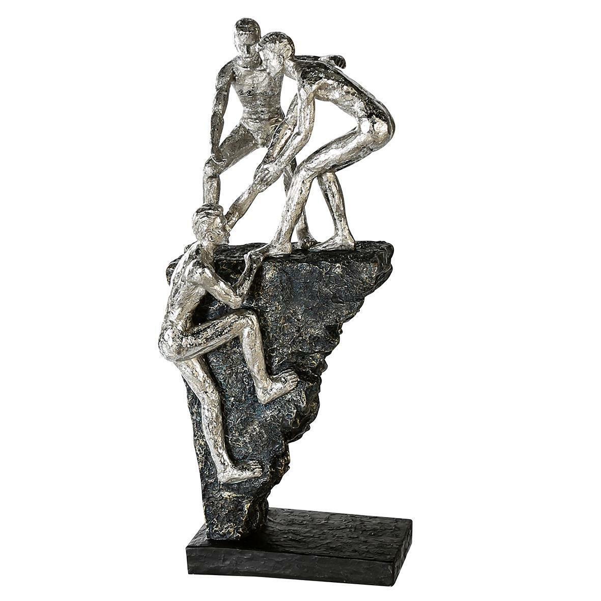 Casablancoa escultura Friends Poly, Ant. plata 3 hombres en rocas, negra base BX