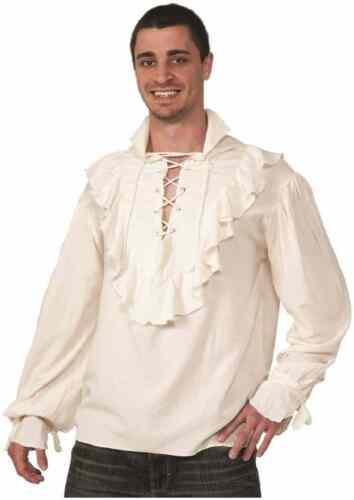 Pirate Shirt Ruffled Renaissance Fancy Dress Halloween Adult Costume Accessory