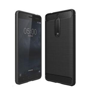 Funda-de-Silicona-TPU-Carbono-Estilo-Negro-carcasa-para-Nokia-5-2017-Top-NUEVO