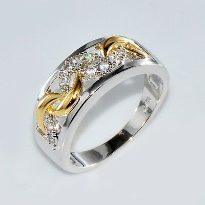 Size 6-10 Gold & Silver Crystal Hollow Band Ring 10KT White Gold Filled Jewelry