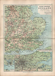 image is loading 1895 victorian map england south east london amp
