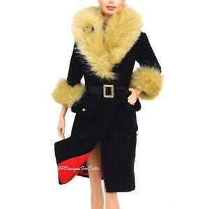 Barbie-Fashion-City-Seasons-hiver-a-New-York-Manteau-noir-avec-fourrure-synthetique-col