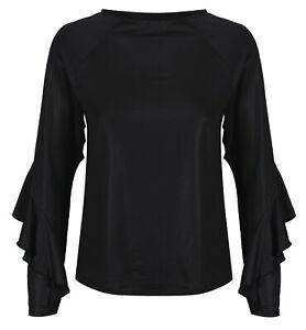 922ef254b937c3 Marks & Spencer Womens Ruffled Sleeve Blouse Top New M&S Shiny Black ...