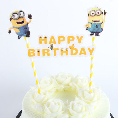 Admirable Minions Cake Topper Happy Birthday Party Personalised Birthday Cards Cominlily Jamesorg