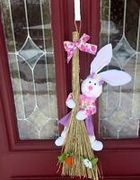 Easter Bunny Girl Rabbit Door Wreath Sign Basket Egg Not Foiled Pick Floral