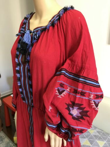 Red Linen Embroidered Boho Folk Vyshyvanka Dress