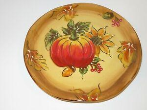 Maxcera-PUMPKIN-Fall-Leaves-Ceramic-Salad-Plate-NEW