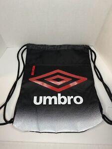 UMBRO Dash Carrysack Drawstring Back Pack Bag Black Gray Adjustable Umbro