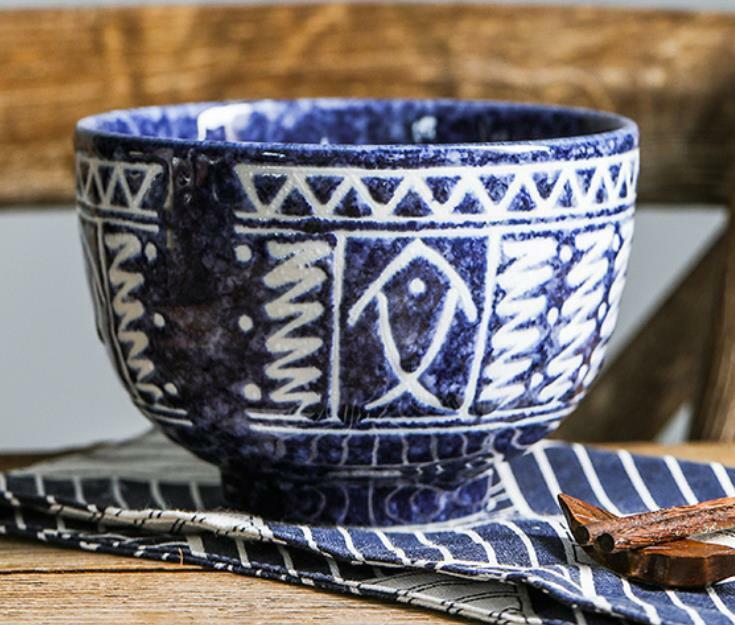 1 PC Ceramic Bowl Rice Noodle Fish Patterned Made in Japan New Hand-painted bluee