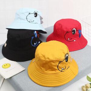 1-3year Baby Boy Girl Cartoon Dinosaur Summer Beach Bucket Sun Hat Vsor Cap