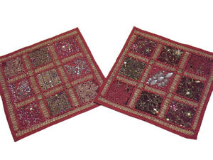 Pink-Decorative-Couch-Cushion-Covers-2-Square-Toss-Handmade-Rajasthan-Pillows