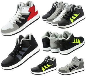 Herren Damen Kinder Hi-Top Sneaker Freizeit Schuhe Winterschuhe Gefüttert 82634