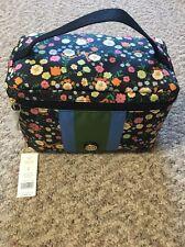 New Black Vilette Tory Burch Travel Nylon Cosmetic Bag Make Up Train Case $150