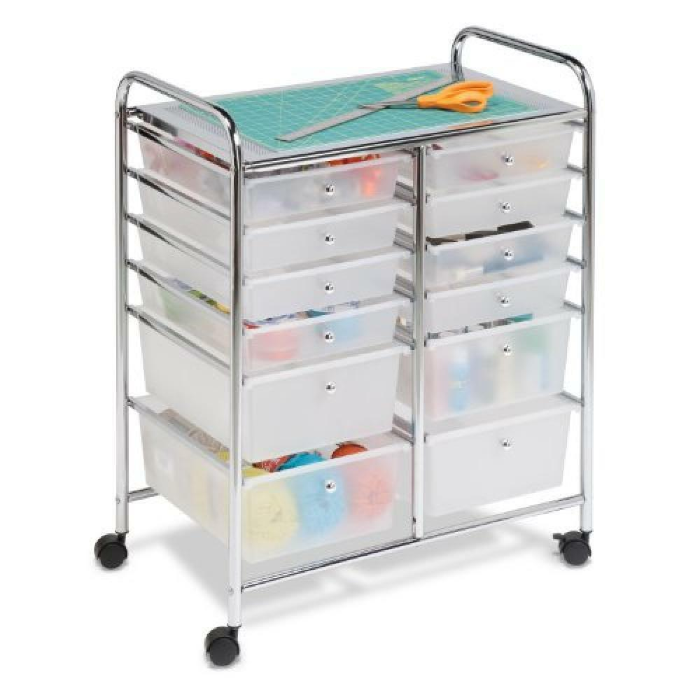 Honey-Can-Do CRT-01683 12 Drawer Chrome Studio Organizer Cart, New, Free Shippin