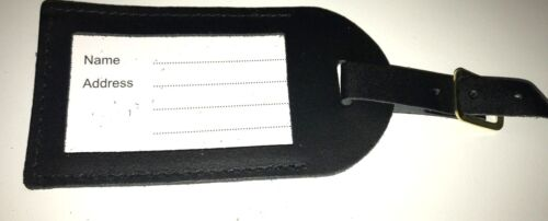 Top qualité handmade cuir véritable LUGGAGE TAG ref Noir-Made in the UK