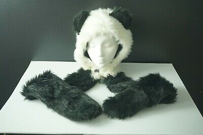 eddbb03b5 Quality Fluffy Panda Bear Hat Scarf Mittens all in one Animal Long ...