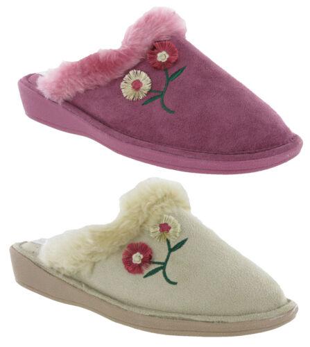 LADIES FLOWER COSY WARM SLIP ON FUR TRIM MULE SLIPPERS WOMENS STRONG SOLE UK 3-8