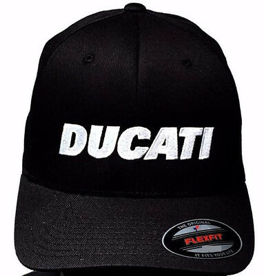 L//XL Ducati 1980s Logo Hat Black with GP Motorcycles Logo on Back