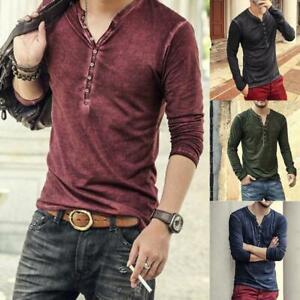 Camiseta-Elegante-Para-Hombre-Cuello-En-V-Camisa-de-Moda-manga-larga-con-botones