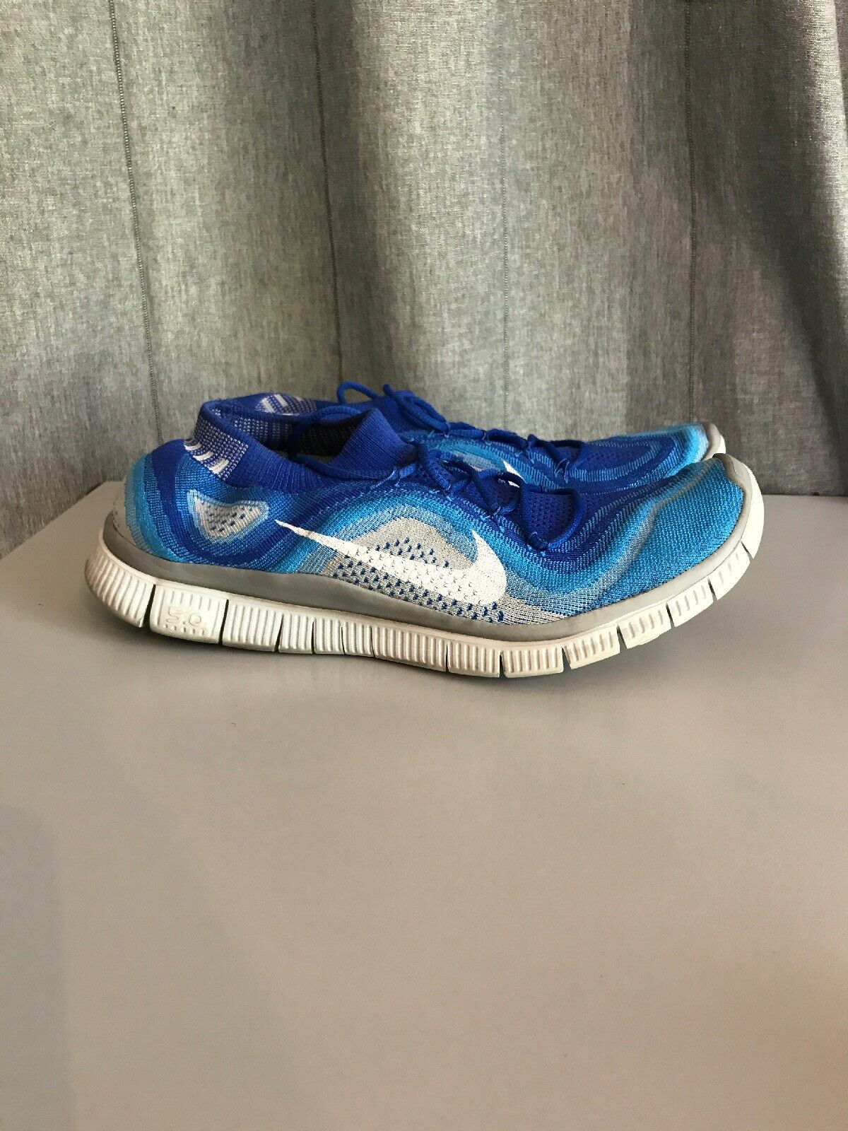 NIKE FREE 5.0 FLYKNIT 615805-414 Men's Athletic Sneakers Size 12 bluee White Grey