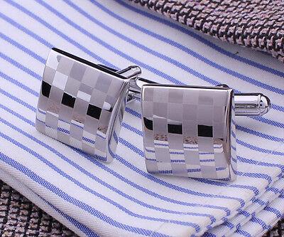 Silver Lattice Small Checks Mens Wedding Party  shirt Cuff links cufflinks