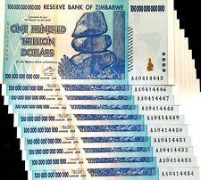ZIMBABWE ZIM 100 TRILLION DOLLARS AA 2008 SERIES UNC P-91 10X NOTES DEALER'S LOT