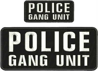POLICE GANG UNIT EMBROIDERY PATC 4X10 /& 2X5 HOOK ON BACK BLK//WHITE
