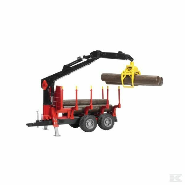 Bruder Timber Trailer With 4 Logs And Crane 1 16 Scale Model
