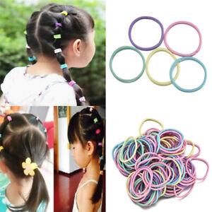 Lots 100Pcs Kids Girl Elastic Rope Hair Ties Ponytail Holder Head Band Hairbands