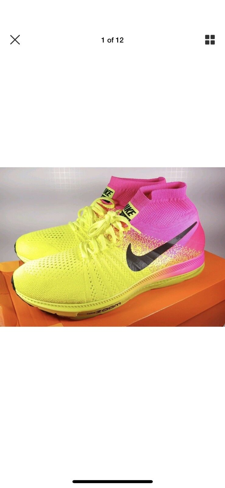Nike Sz 10.5Running shoes Zoom All Out Flyknit OC Rio Volt Pink 845716-999 Men
