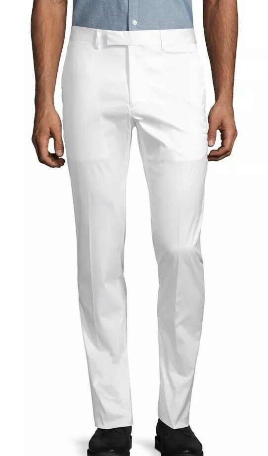 Ralph Lauren Purple Label EATON White Summer Cotton Twill Trousers Pants 34